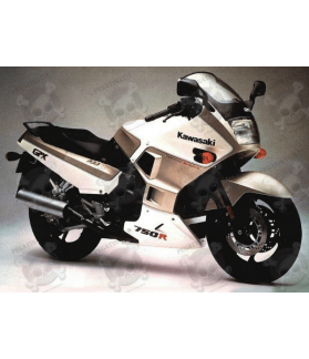 STICKERS KAWASAKI GPX-750R YEAR 1987 WHITE-SILVER