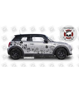 MINI COOPER COUPE FLOWER SIDE STRIPES PANEL STICKERS