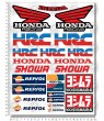 Honda Sponsors silver metallic Large Decal set 24x32 cm Laminated