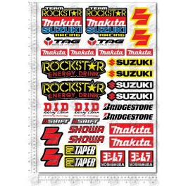 Suzuki Sponsors silver metallic Large Decal set 34x49 cm Laminated