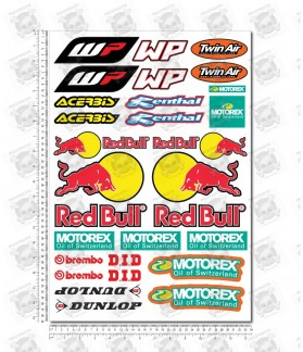 Red Bull Sponsors silver metallic Large Decal set 34x49 cm Laminated 31 stickers