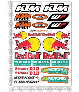 KTM Red Bull Sponsors silver metallic Large Decal set 34x49 cm Laminated 31 stickers