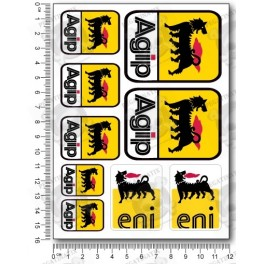 Agip Sponsors silver metallic Large Decal set 12x16 cm Laminated 31 stickers
