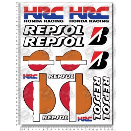 HRC Repsol Large Decal set 24x32 cm 16 stickers Honda CBR Laminated