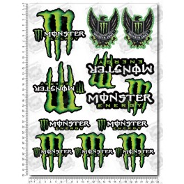 Monster Energy Sponsors Large Decal set 24x32 cm 22 stickers Laminated