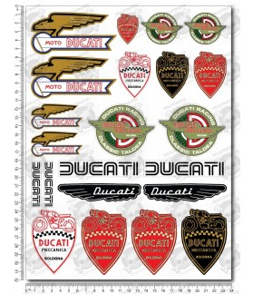 DUCATI Old logos Large Decal set 24x32 cm Laminated