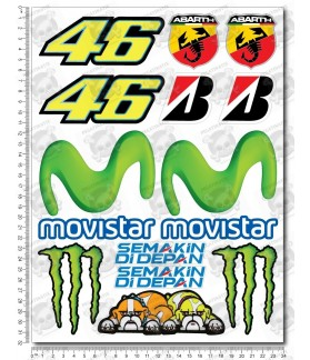 Valentino Rossi 46 Movistar Yamaha Large Decal set 24x32 cm Laminated