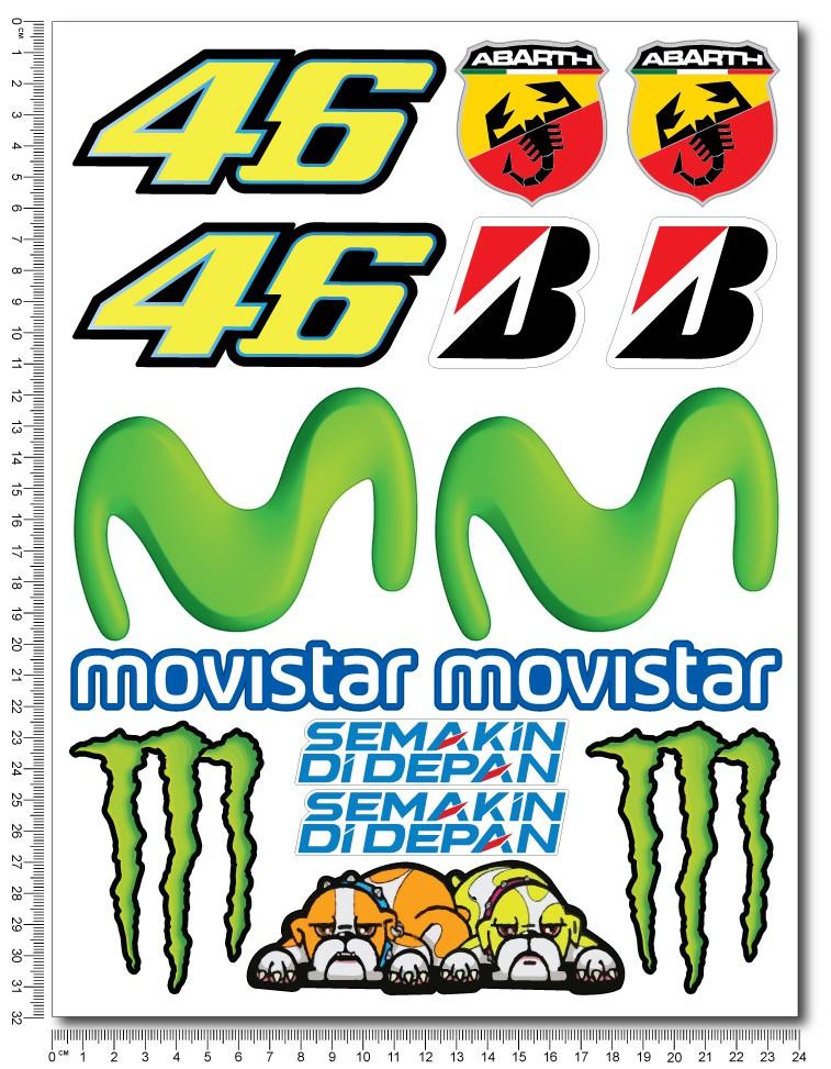 Autocollant Décalcomanie Sticker Aufkleber Adesivi Movistar Yamaha Motogp