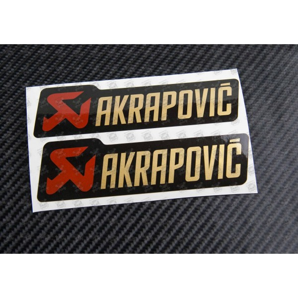 Akrapovic metallic exhaust decals stickers 2 pcs heat proof