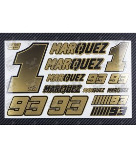 Marc Marquez 93 Golden metallic premium decal set 16x26 cm Laminated