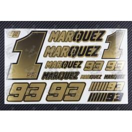 Marc Marquez 93 Golden metallic premium decal set 16x26 cm Laminated