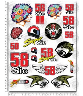 Marco Simoncelli 58 SuperSic Large Decal set 24x32 cm Laminatet