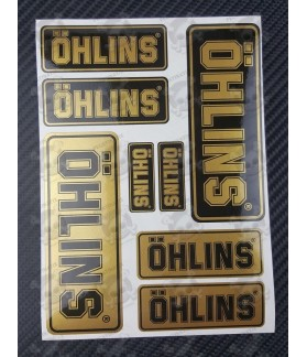OHLINS small Decal sticker set 12x16 cm 8 stickers Black/Gold metallic Laminated
