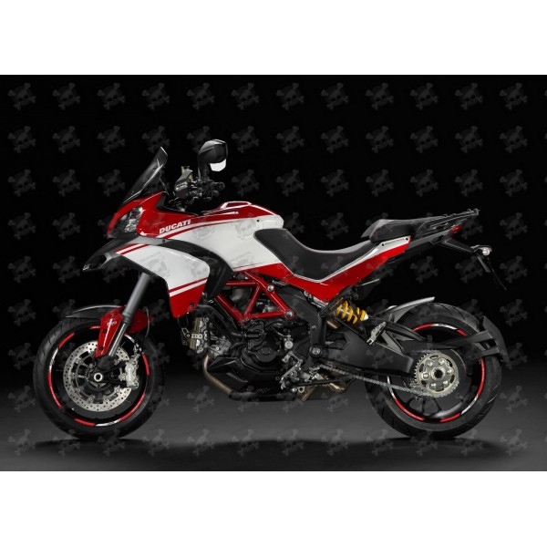 Gloss Red Motorcycle Rim Wheel Decal Accessory Sticker For Ducati Multistrada