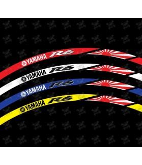 YAMAHA YZF-R6 Japan flag Wheel decals rim stripes 16 pcs. Laminated full color