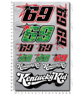 Nicky Hayden decal set 16x26 cm 12 stickers Kentuky kid Laminated