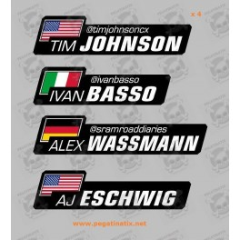 Stickers decals customizable FLAG WORLDWIDE AND YOUR NAME x 4